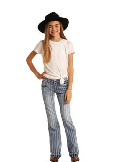 Girls Panhandle Slim Pinstripe Trouser