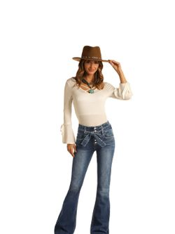 Ladies Panhandle Slim High Rise Button Flare