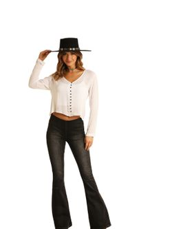Ladies Panhandle Slim Midrise Distressed Black Flare