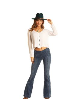 Ladies Panhandle Slim Denim Star Flares