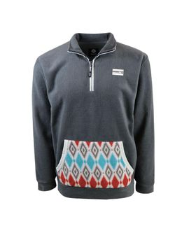 Ladies Hooey Pullover Charcoal Fleece Diamond Pattern
