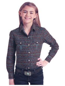 Kids Panhandle Slim Girls Print Long Sleeve