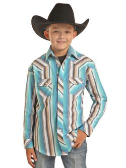 Kids Panhandle Slim Stripe Snap Long Sleeve