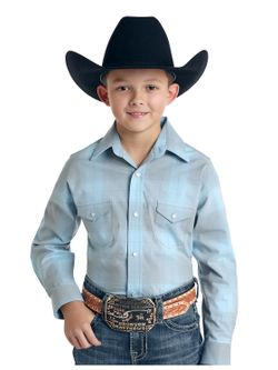 Kids Panhandle Slim Light Blue Plaid Long Sleeve