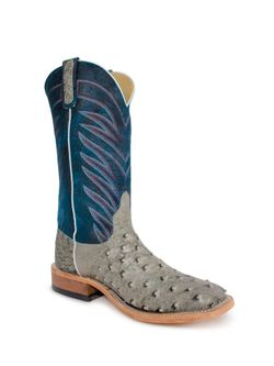 Mens Anderson Bean Bone Washout Full Quill Ostrich Cowboy Boots