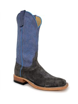 Mens Anderson Bean Charcoal  Suede Cowboy Boots