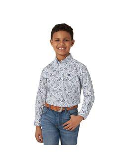 Kids Wrangler White Paisley Long Sleeve Shirt