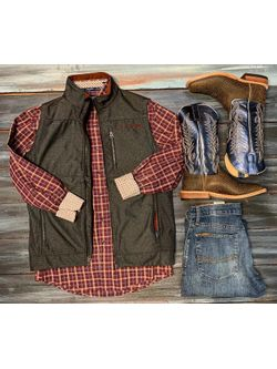 HIppo Boots, Charcoal Vest & Burgundy Plaid Shirt