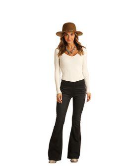 Ladies Panhandle Slim Black Flare Jeans