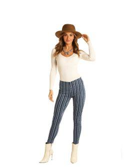 Ladies Panhandle Slim Striped Skinny Jeans