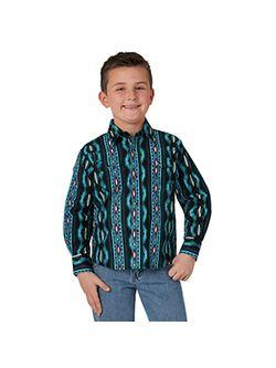 Kids Wrangler Blue Aztec Long Sleeve Shirt