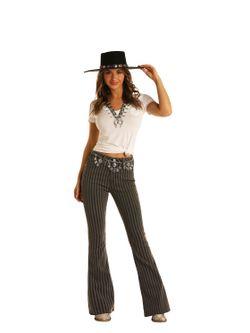 Ladies Panhandle Slim Charcoal Stripe Flare Jeans