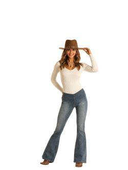 Ladies Panhandle Slim Med Wash High Rise Flare Jeans