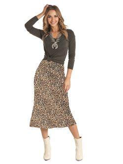 Ladies Panhandle Slim Leopard  Print Skirt