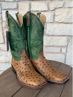 Mens Anderson Bean Terra Vintage Ostrich Full Quill Cowboy Boots