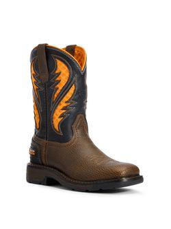Kids Ariat Work Venttek Brown and Orange Work Boots