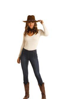 Ladies Panhandle Slim Mid Rise Pull-on Skinny Jeans
