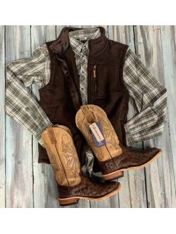 Green Plaid and Kango Tobacco Ostrich Boots
