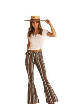 Ladies Panhandle Slim Striped Bells Jeans