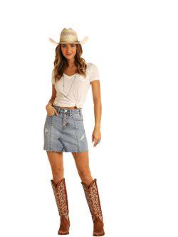 Ladies Panhandle Slim Mid Rise Denim Skirt