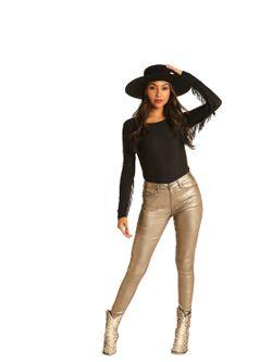 Ladies Panhandle Slim Gold Pleather Jeans