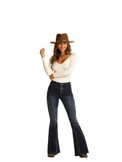 Ladies Panhandle Slim Button Up Flare Jeans