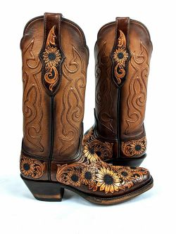 Ladies Black Jack Hand Tooled Sunflower Boots Pre-Order