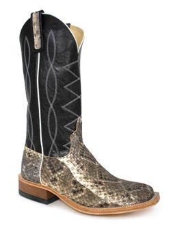 Mens Anderson Bean Black Diamond Rattlesnake Cowboy Boots