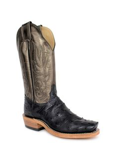 Ladies Olathe Pewter Metallic Top Black Full Quill Ostrich Boots