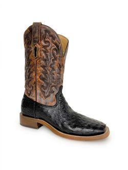 Mens Corral Black and Brown Ostrich Boots