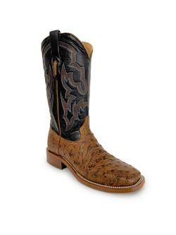 Mens Corral Cognac Black Ostrich Boots