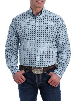Mens Cinch Light Blue Print Shirt Long Sleeve