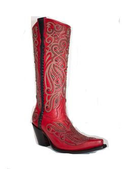 Ladies Corral Red Studded Boots