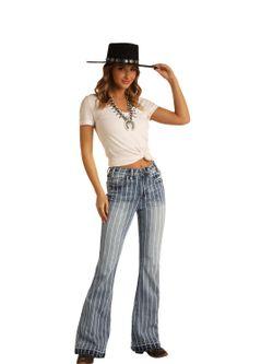 Ladies Panhandle Slim Denim Striped Bells