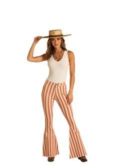 Ladies Panhandle Slim Coral Striped Bell Jeans