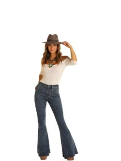 Ladies Panhandle Slim High Rise Extra Stretch Bell Bottom Jeans