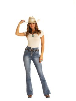 Ladies Panhandle Slim High Rise Button Fly Jeans