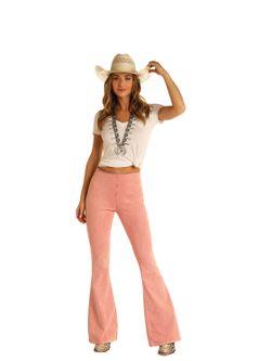 Ladies Panhandle Slim Pink Flare Jeans