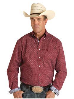 Mens Panhandle Slim Maroon Print Long Sleeve Shirt