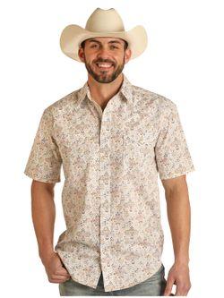 Mens Panhandle Slim Floral Pearl Snap Shirt