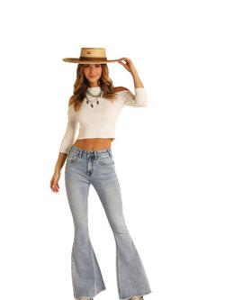 Ladies Panhandle Slim Denim Bell Bottoms Jeans