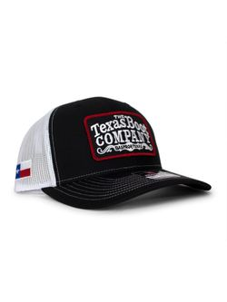 Mens TBC Black and White with Red Patch Cap