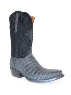 Mens Black Jack Black Sueded Caiman Belly Boots