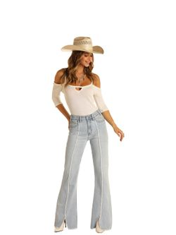 Ladies Panhandle Slim Light Wash Trouser Jeans