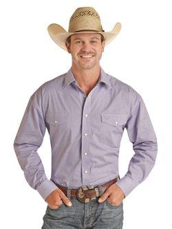 Mens Panhandle Slim Purple Snap Long Sleeve Shirt