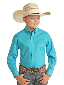 Kids Panhandle Slim Light Blue Plaid Long Sleeve Shirt