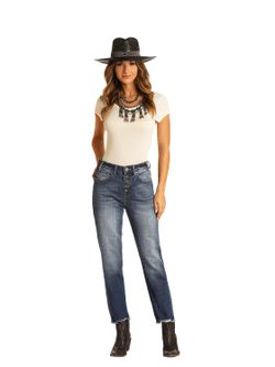 Ladies Panhandle Slim Straight Leg Button Fly Jeans