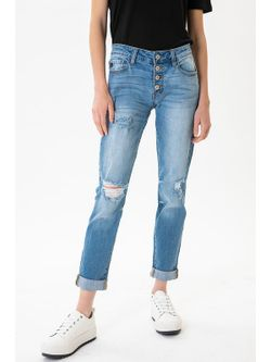 Ladies Kancan Benny Mid Rise Girlfriend Fit Jeans