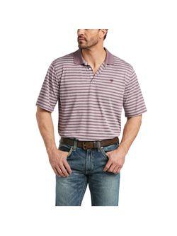 Mens Ariat Short Sleeve Striped Polo Melange