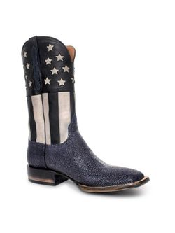 Mens Black Jack Navy Sanded Stingray Boots